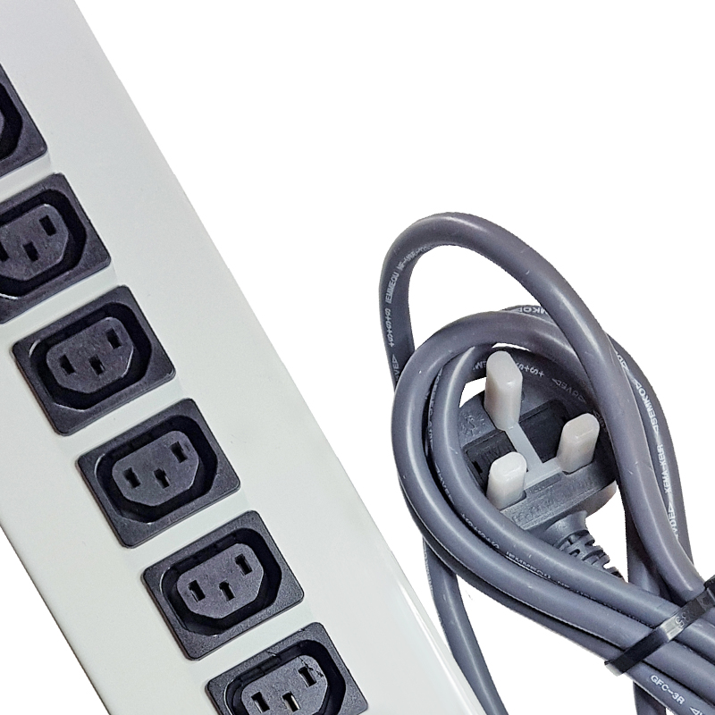 19 Inch IEC C13 Sockets - Powder Coated Steel Casing - Hardwired UK Plug (Type G)