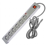 602DA - 6 Way ABS+AL - Wired Lead - EU Type F Plug