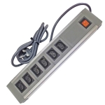 602IEC/GBA - 6 Way IEC ABS+AL - Wired Lead - UK Plug