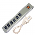 602IEC/GBL - 6 Way IEC ABS+AL - Wired Lead - RCD